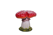 Red Single Split Mushroom Stool Over Sized Statue