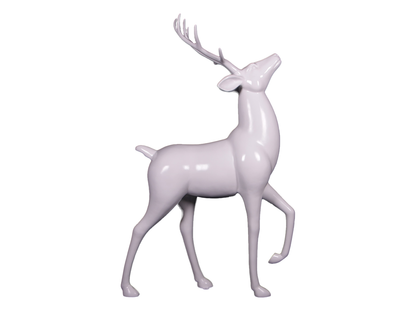 White Royal Stag Deer Life Size Statue