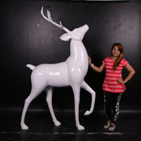 White Royal Stag Reindeer Life Size Statue