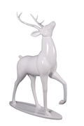 White Royal Stag Reindeer On Base Life Size Statue