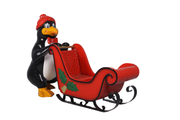 Comic Penguin with Sleigh Life Size Statue Prop