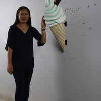 Hanging Soft Serve Mint Green Ice Cream Over Sized Statue