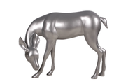 Silver Reindeer Head Down Life Size Statue