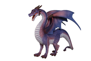 Dragon Purple Small Standing Mythical Prop Resin Decor Statue
