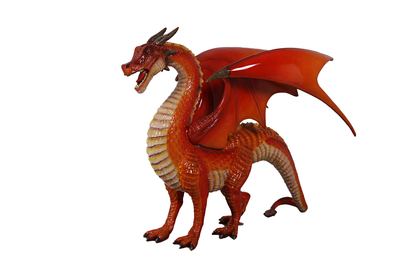 Dragon Red Small Standing Mythical Prop Resin Decor Statue