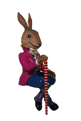Rabbit Comic Bunny Jack Sitting Animal Prop Decor Resin Statue