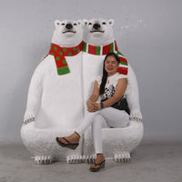 Polar Bear Bench Life Size Statue