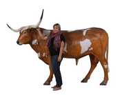 Texas Long Horn Life Size Statue