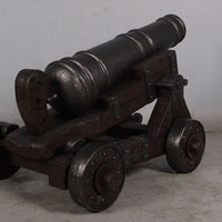 Medieval Cannon With Base Life Size Statue