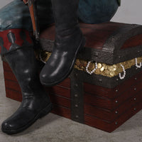 Pirate Sitting On Treasures Chest Life Size Statue Resin Decor