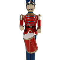 Red Toy Soldier Drummer Life Size Christmas Statue