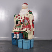 Santa Happy Holidays Photo Op Life Size Statue