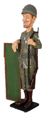 Soldier Statue w Menu Board Life Size Statue American Army Soldier Display - LM Prop Rentals