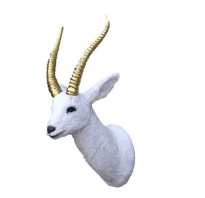 Gazelle Head Wall Mount White Forest Prop Life Size Decor Resin Statue