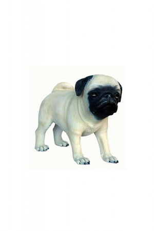 Dog Pug Puppy White Animal Prop Life Size Decor Resin Statue