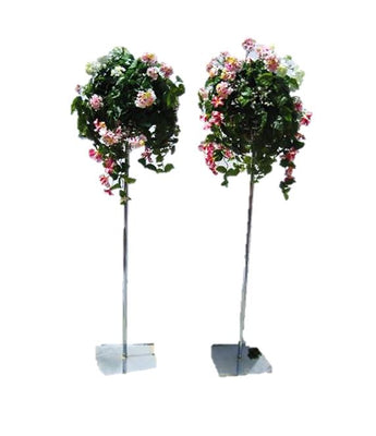 Artificial Flower Pedestal Adjustable Set of 2 Garden Prop Decor - LM Prop Rentals