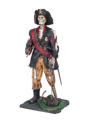 Pirate Captain Hook Skeleton Life Size Statue