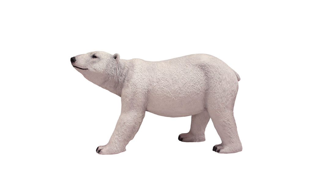 Polar Bear Walking Head Up Life Size Statue