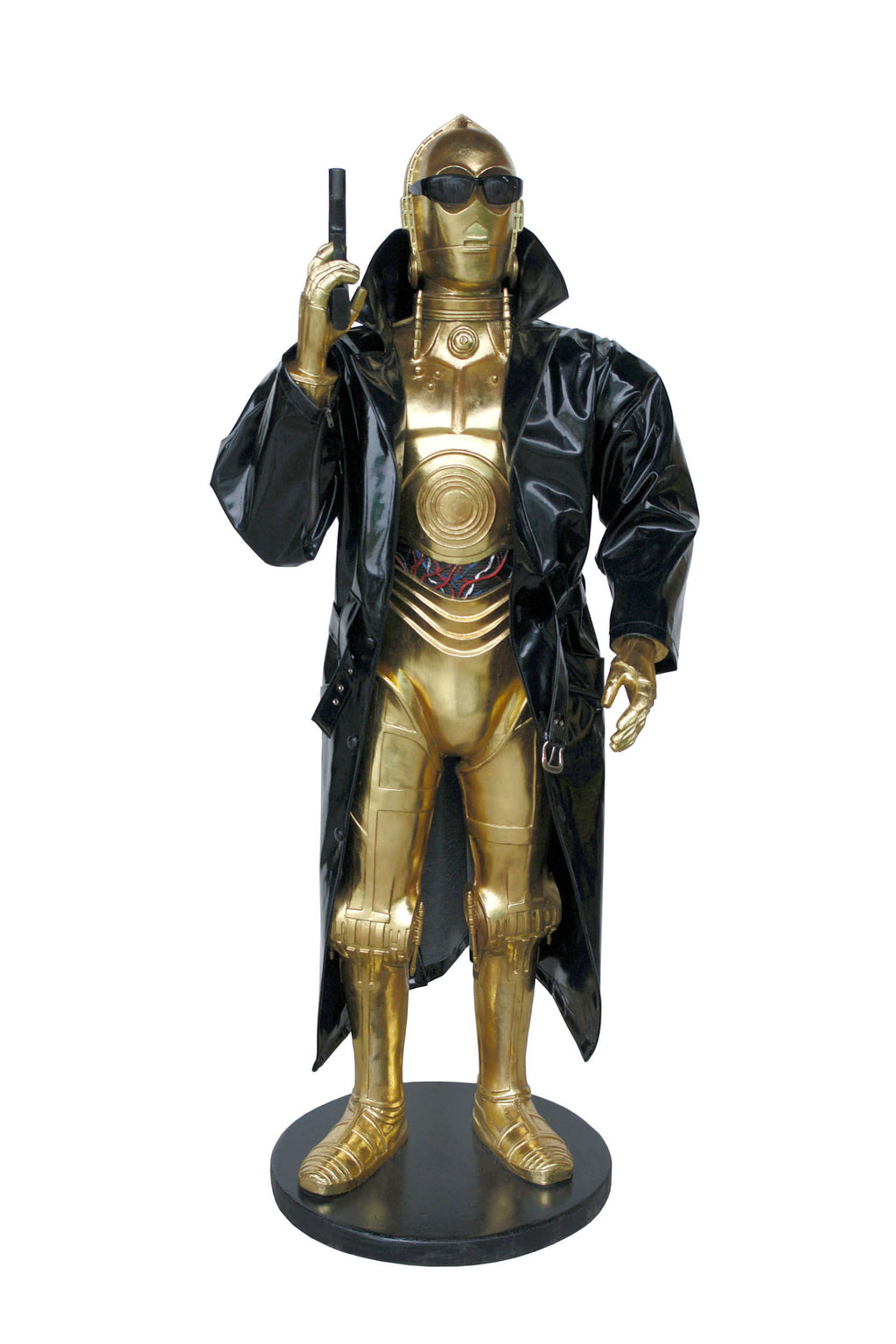 Gold Space Robot Detective Life Size Statue