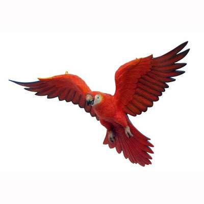Bird Parrot Flying Red Animal Prop Life Size Resin Statue - LM Prop Rentals