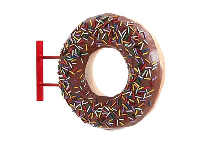 Donut Brown Hanging Restaurant Prop Resin Decor Statue - LM Prop Rentals