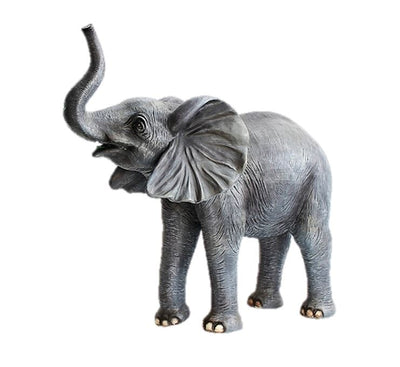 Elephant Baby Standing Trunk Up #2 Life Size Jungle Animal Resin Statue - LM Treasures Prop Rentals