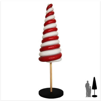 Twister Cone Lollipop Candy Big Cone Red White Statue - LM Prop Rentals