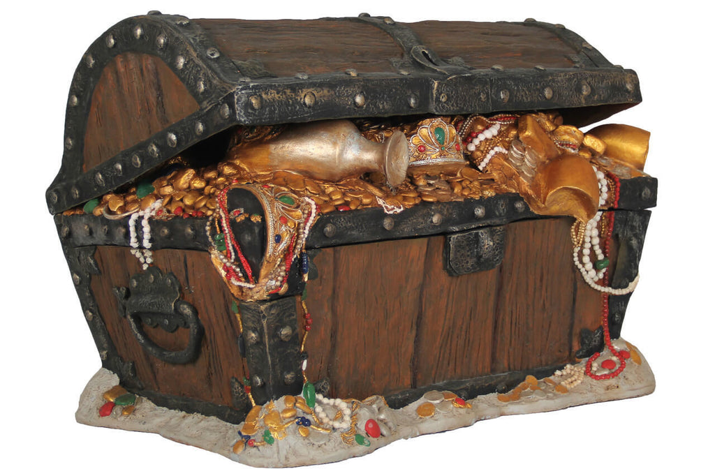 Treasure Chest Big Statue Pirate Prop Resin Decor - LM Treasures Prop Rentals