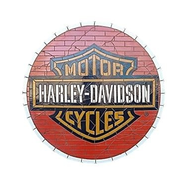 Mosaic Sign Motercycle Emblem Look Alike Wall Decor Resin Statue - LM Treasures Prop Rentals