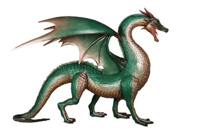 Dragon Green Large Standing Mythical Prop Resin D̩ecor Statue - LM Treasures Prop Rentals