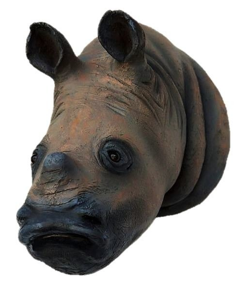Rhinoceros Head No Horn Safari Prop Life Size Resin Decor Statue - LM Prop Rentals