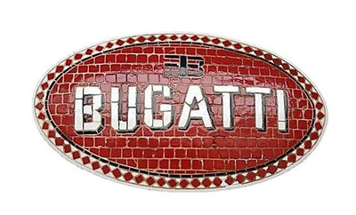 Mosaic Sign Bugatti Emblem Look Alike Wall Decor Resin Statue - LM Treasures Prop Rentals
