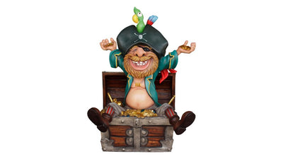 Pirate in Treasure Chest Life Size Pirate Prop Decor Resin Statue - LM Treasures Prop Rentals