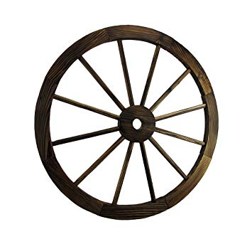 Wagon Wheel Wooden Western Prop Decor Resin Statue - LM Treasures Prop Rentals
