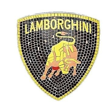 Mosaic Sign Lamborghini Emblem Look Alike Wall Decor Resin Statue - LM Prop Rentals