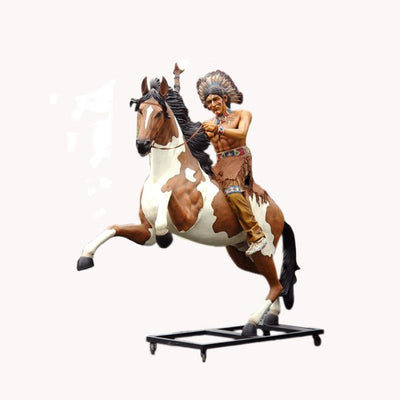 Indian Chief Warrior On Horse Life Size Prop Resin Decor Statue - LM Treasures Prop Rentals