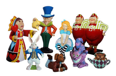 Alice in Wonderland Set of 8 Cartoon Resin Decor Statue - LM Treasures Prop Rentals