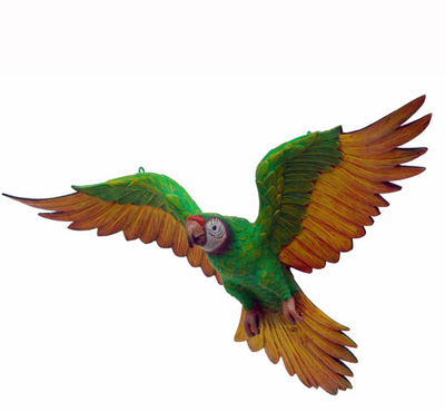 Bird Parrot Flying Green Animal Prop Life Size Resin Statue - LM Prop Rentals