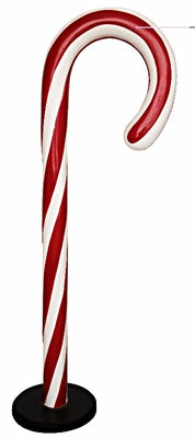 Candy Cane Traditional Small Red/White Over sized Display Resin Prop Decor Statue - LM Treasures Prop Rentals