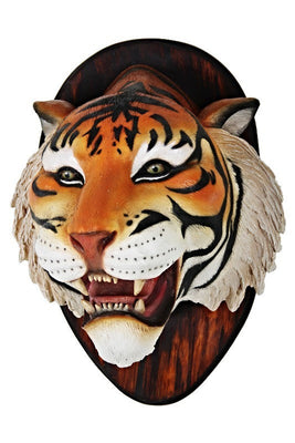 Tiger Bengal Head Plaque Animal Prop Life Size Decor Resin Statue - LM Treasures Prop Rentals