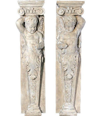Column Stone Cherub Babies Set Of 2 Greek Roman Prop Resin Decor - LM Treasures Prop Rentals