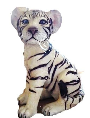 Tiger Siberian Cub Sitting Animal Prop Life Size Decor Resin Statue - LM Treasures Prop Rentals