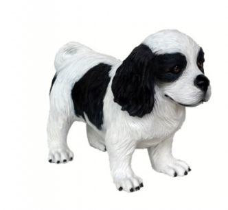 Dog Cavalier Spaniel Puppy Black Animal Prop Life Size D̩ecor Resin Statue - LM Prop Rentals
