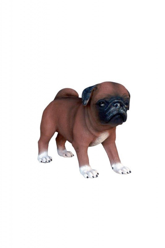 Dog Pug Puppy Brown Animal Prop Life Size D̩ecor  Resin Statue - LM Prop Rentals