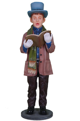 Caroler Singing Boy Christmas Prop Resin Decor Statue - LM Treasures Prop Rentals