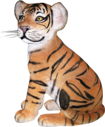 Tiger Bengal Cub Sitting Animal Prop Life Size Decor Resin Statue - LM Prop Rentals