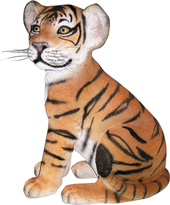 Tiger Bengal Cub Sitting Animal Prop Life Size Decor Resin Statue - LM Treasures Prop Rentals