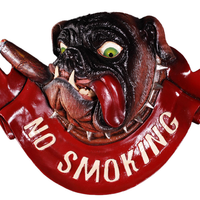 Dog Bulldog Sign No Smoking Animal Prop Life Size Decor Resin Statue