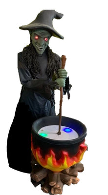 Witch and Pot Light Up Life Size Mythical Prop Decor Resin Statue