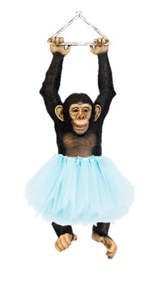 Hanging Circus Monkey Chimpanzee On Rope Life Size Statue
